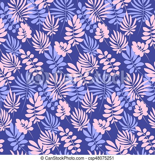 Tropical tender image for bed linen. Seamless floral pattern with exotic leaves for wrapping paper, fabric, cloth. Vector illustration - csp48075251