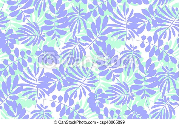 Tropical tender image for bed linen. Seamless floral pattern with exotic leaves for wrapping paper, fabric, cloth. Vector illustration - csp48065899