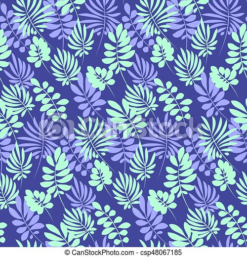 Tropical tender image for bed linen. Seamless floral pattern with exotic leaves for wrapping paper, fabric, cloth. Vector illustration - csp48067185