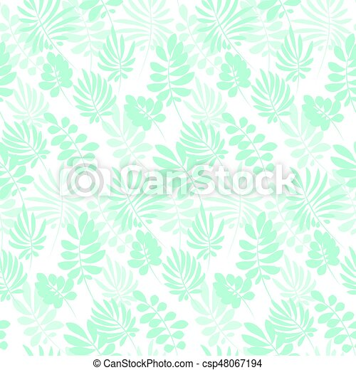 Tropical tender image on white background for bed linen. Seamless floral pattern with exotic leaves for wrapping paper, fabric, cloth. Vector illustration - csp48067194