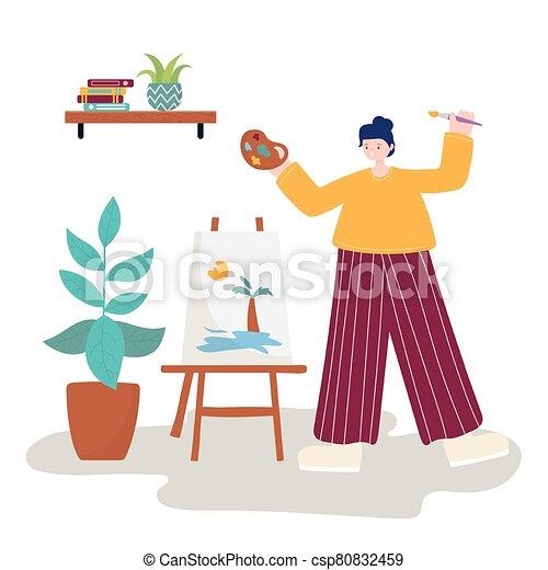 tropical, tenencia, artista, escena, lona, mujer, dibujo, gama de colores del color, actividades, gente - csp80832459