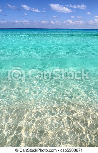 La playa tropical caribeña limpia agua turquesa - csp5300671