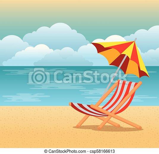 Escena de verano tropical de playa - csp58166613
