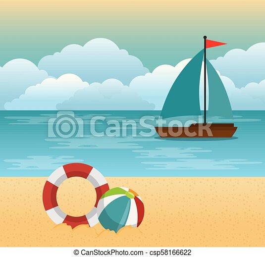 Escena de verano tropical de playa - csp58166622