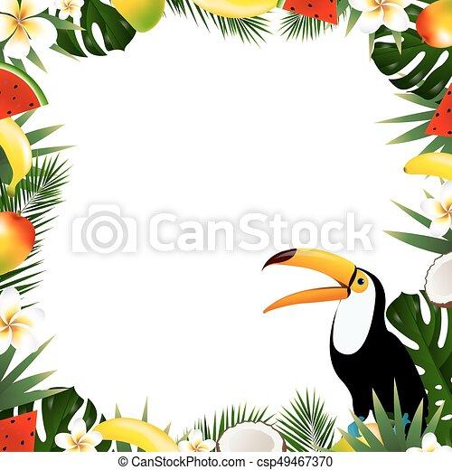 Tropical, verano, marco. Verano, vector, marco, gradiente ...