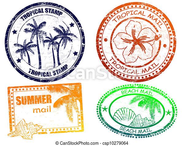 Estampillas de verano tropicales - csp10279064
