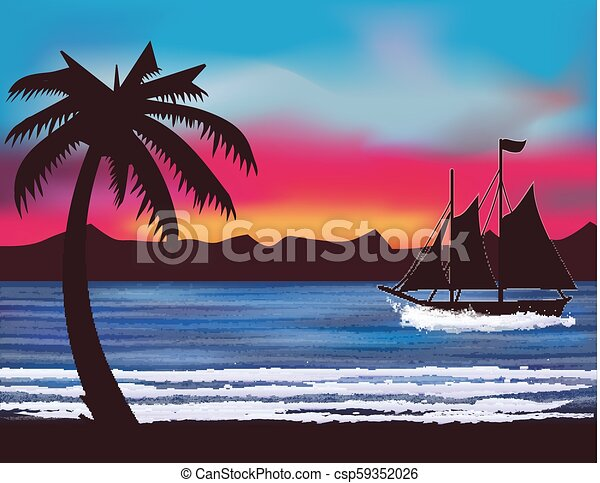 Sailing Between the Palms