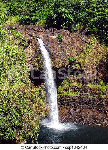 Tropical Waterfall: Rainbow Falls, The Big Island, Hawaii - csp1842484