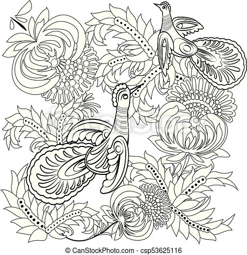 - Tropical Wild Birds And Flowers. Coloring Book For Adult And Older  Children. Coloring Page. Outline Vector Illustration.
