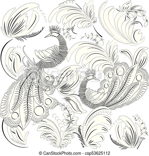 Tropical Wild Birds And Leaves Coloring Book For Adult Older Children Page Outline Vector Illustration