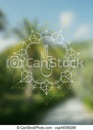 Tropical Yoga Realistic Banner With Mandala Tropical Yoga Banner Sacred Geometry Mandala On Realistic Tropic Background