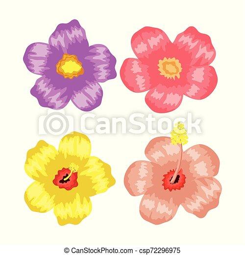 tropicale, piante, fiori, set - csp72296975