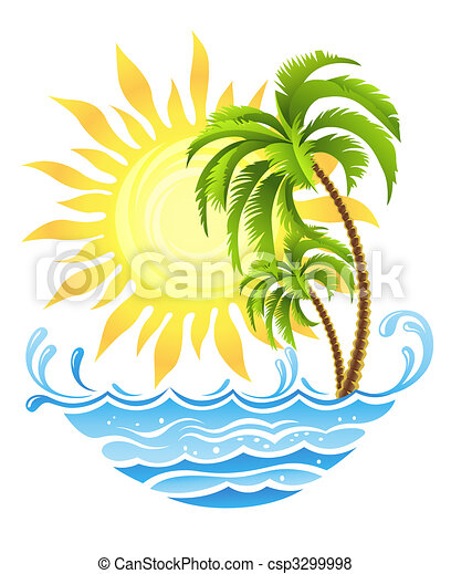 tropicale, sole, palme, oceano - csp3299998