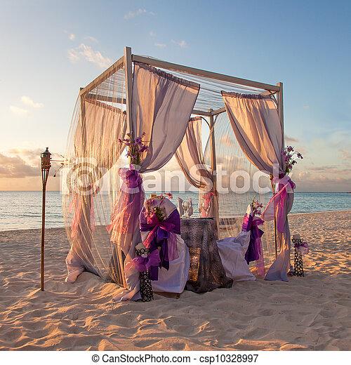 Matrimonio Spiaggia Decorazioni : Tropicale tavola matrimonio spiaggia bello caraibico