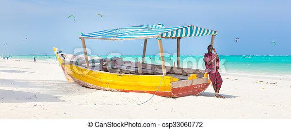 tropicale, zanzibar., spiaggia, bianco, sabbioso - csp33060772