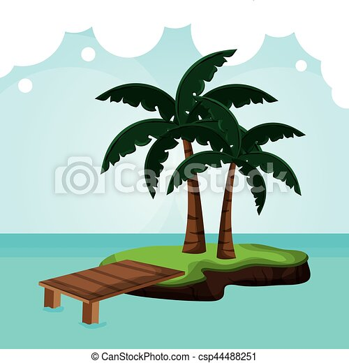 tropicalisland pier palm tree - csp44488251