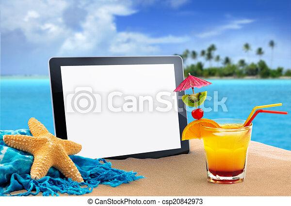 tropikalna plaża, tabliczka - csp20842973