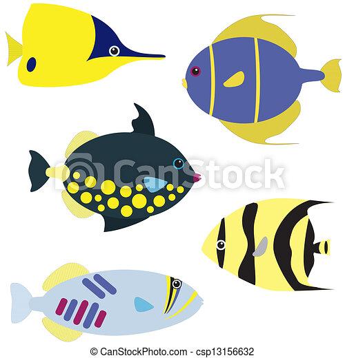tropikalna ryba, wektor, komplet - csp13156632