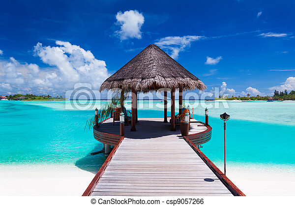 tropikalna wyspa, prospekt, molo, ocean - csp9057266