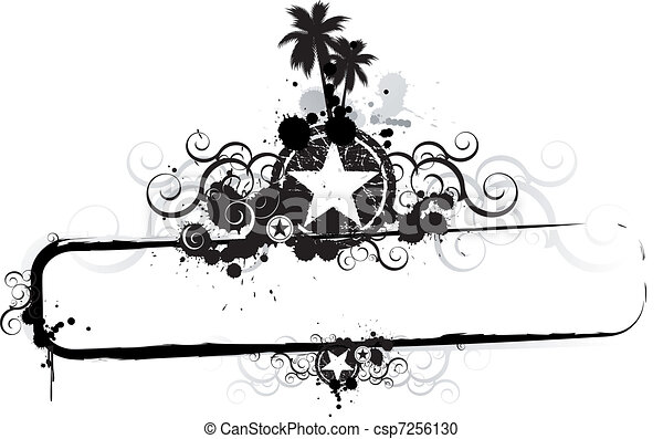 tropikalny, grunge, chorągiew - csp7256130