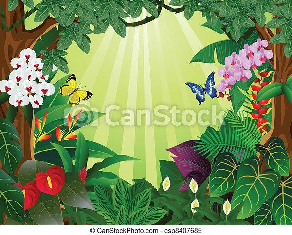 tropikalny las, tło - csp8407685