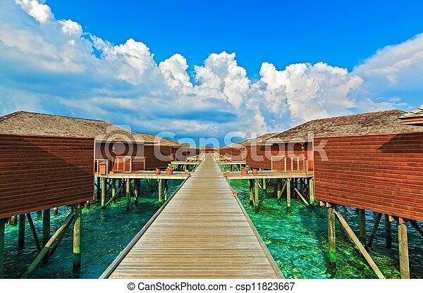 tropikalny, malediwy, domki wypoczynkowy, woda - csp11823667