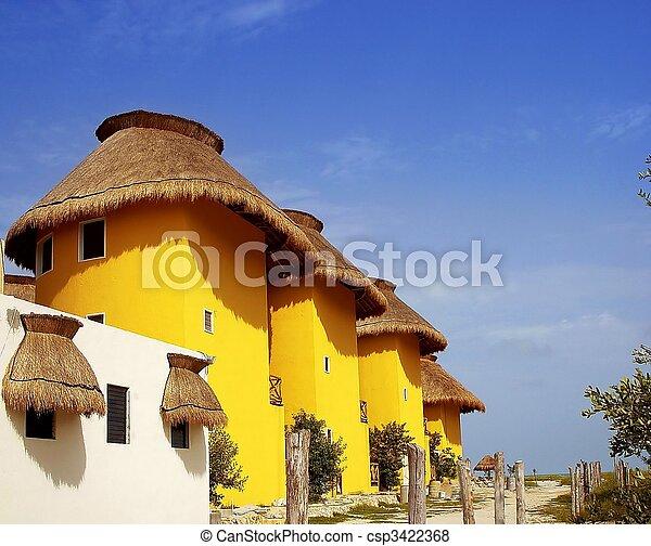 tropikus, épület, sárga, mexikó - csp3422368