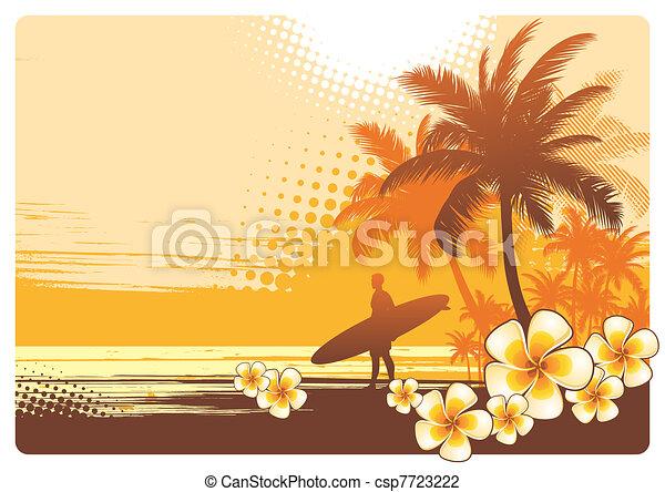 tropikus, vektor, táj, ábra, hullámlovas - csp7723222
