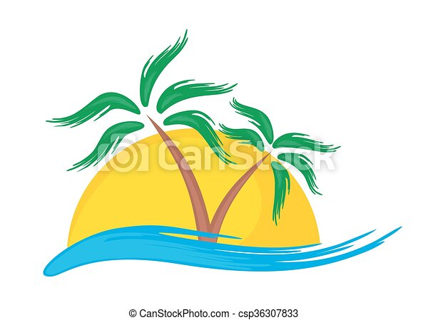 tropische , logo, island. - csp36307833