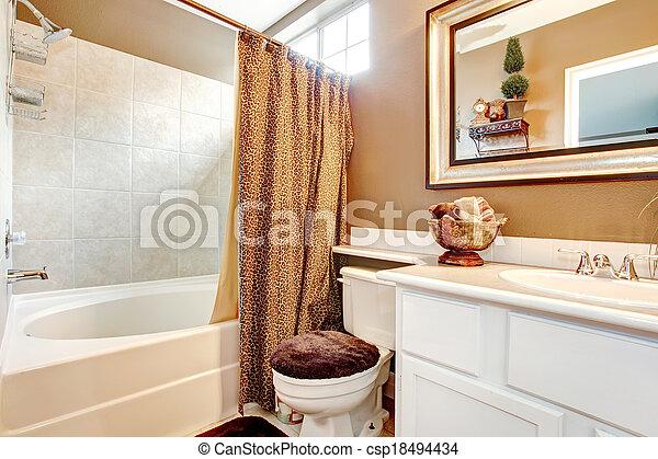 Tropische , thema, badkamer. Toilet, badkamer, bruine ...