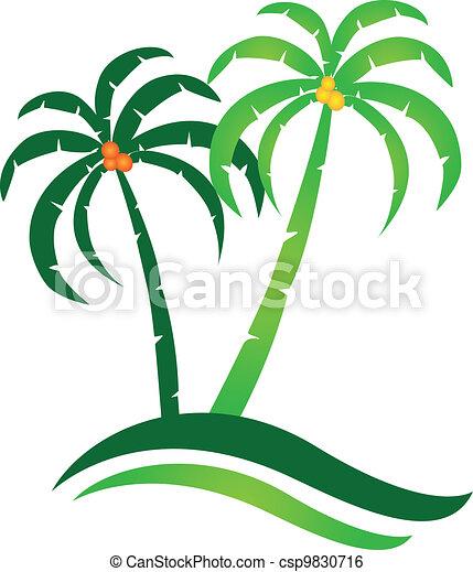 tropisk ö, vektor, logo - csp9830716