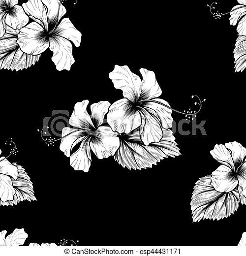 tropisk, hibiskus, blomningen, seamless, bakgrund - csp44431171