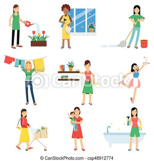 Troszcząc, komplet, nowoczesny, prace domowe, gospodyni ...
