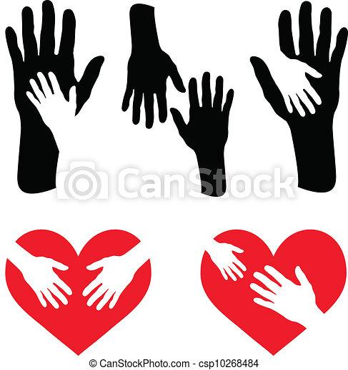 troszcząc, serce, komplet, czerwony, ręka - csp10268484