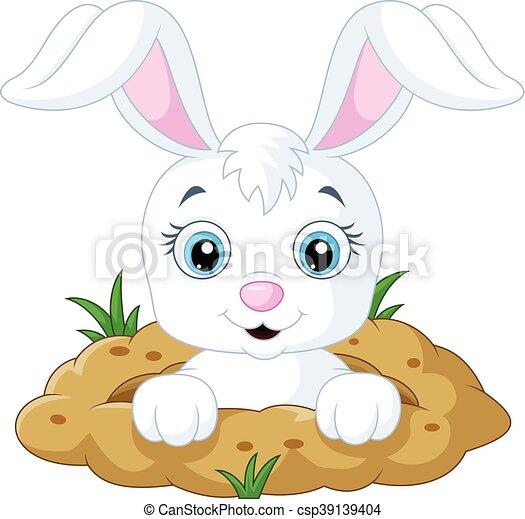 Top Clipart Vecteur de trou, heureux, lapin, dessin animé  RB11