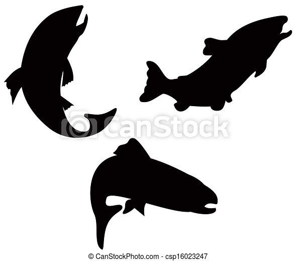 Trout Fish Silhouette Retro - csp16023247