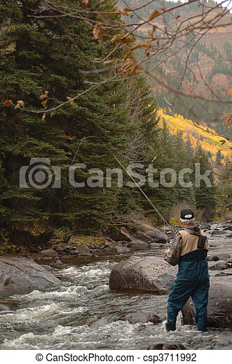 Trout Fishing Vertical - csp3711992