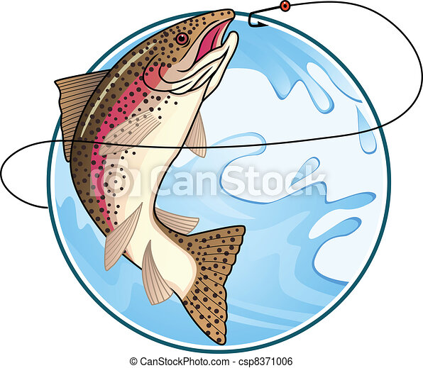 trout vector vector illustration of trout fishing symbol clip art rh canstockphoto com trout clip art images trout clip art images