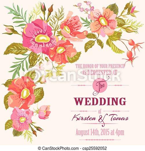 trouwfeest, -, floral, vector, uitnodiging, datum, sparen, kaart - csp25592052