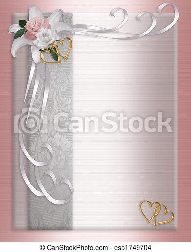 trouwfeest, satijn, uitnodiging, grens - csp1749704