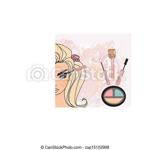 trucco, mascara, applying., closeup. - csp15102998