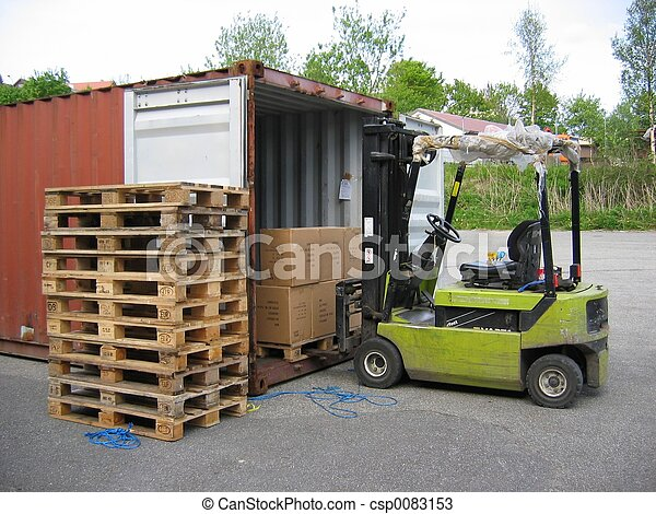 Truck at container - csp0083153