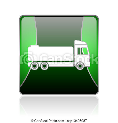 truck black and green square web glossy icon - csp13405987