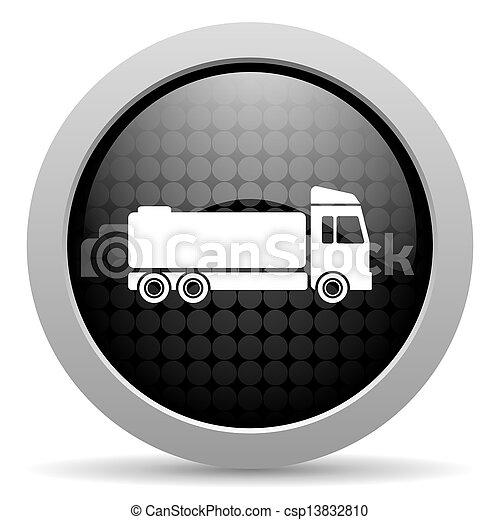 truck black circle web glossy icon - csp13832810