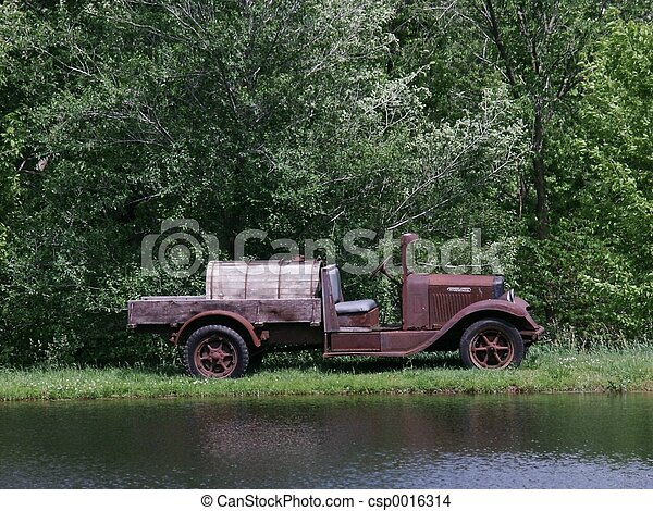 Truck By Pond - csp0016314