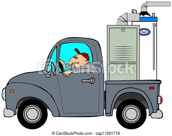 Truck Hauling A Furnace This Illustration Depicts A Man Driving An