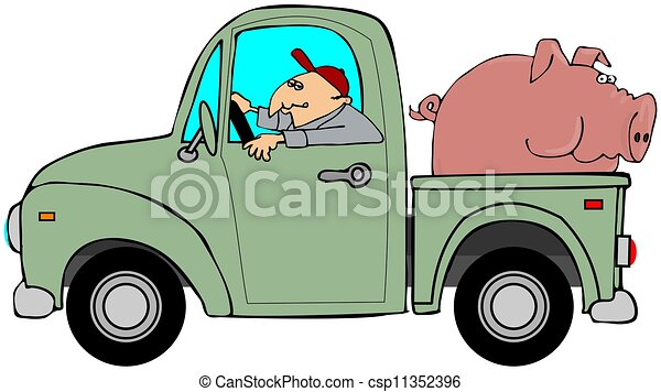 Truck Hauling A Hog This Illustration Depicts A Man Driving An Old