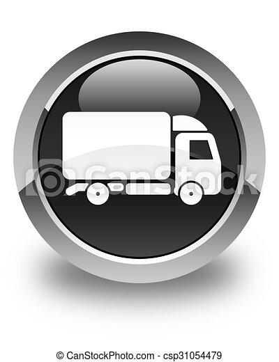 Truck icon glossy black round button - csp31054479