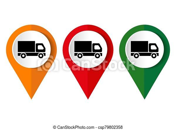 truck icon on square internet button - csp79802358