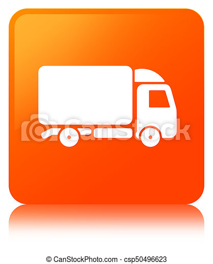 Truck icon orange square button - csp50496623